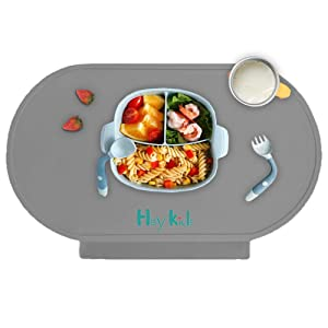 Silicone Baby Placemat, Food Grade Food Catching Placemats for Kids Baby Toddler,Grey