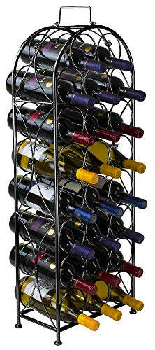 Sorbus Wine Rack Stand Bordeaux Chateau Style - Holds 23 Bottles of Your Favorite Wine - Elegant Looking French Style Wine Rack to Compliment Any Space - No Assembly Required (Black) ()