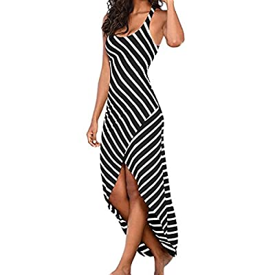 Trancylight Women Sexy Sleeveless Long Dress Casual Stripes Sundress Bodycon Party Dresses