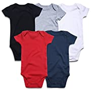 ROMPERINBOX Place Unisex Baby Bodysuits 100% Cotton 0-24 Months (3-6 Months, Black White Grey Navy Red Short Sleeve)