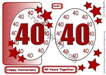 40th Ruby Anniversary tarjeta roja en la parte delantera de ...