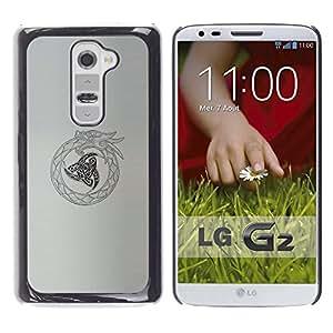 A-type Arte & diseño plástico duro Fundas Cover Cubre Hard Case Cover para LG G2 (Tribal Viking Oroboros Snake Dragon)