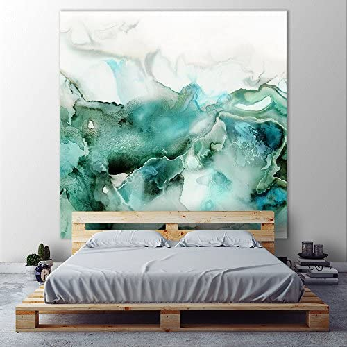 Giant Art Mint Bubbles I Huge Contemporary Abstract Giclee Canvas Print