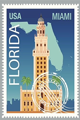 Miami Florida Freedom Tower Vintage Travel Stamp Art Print Poster 24x36 inch