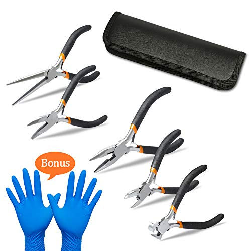 5 Pieces Mini Pliers, Long Lasting Tool Set Cable Cutters - Long Needle Nose, Long Nose, Nipper Bent Nose, End Cutting, Diagonal Cutting, Precision Pliers Set