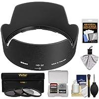 Nikon HB-32 Bayonet Lens Hood for Nikon 18-135mm, 18-105mm, 18-140mm VR DX Zoom-Nikkor + 3 (UV/ND8/CPL) Filter Set + Accessory Kit (with D3100, D320, D5100, D5200, D7000 & D7100 Digital SLR Camera)