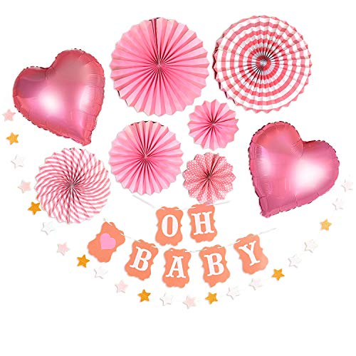 Baby shower decorations - White & Pink Girl Baby Shower Centerpiece Kit, Oh baby Letters Party Banner, Rose Gold Heart Balloons, Paper Flower Fans, Star Garland - Premium Party Supplies Set, 11 Pieces