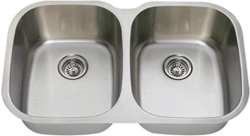MR Direct 504-16 Stainless Steel Kitchen 16-Gauge Undermount Equal Double Bowl, Brushed Satin Sink Only