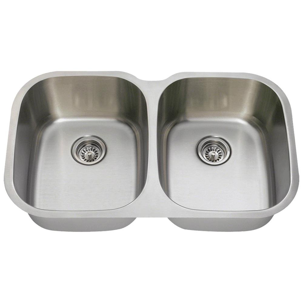 504 18-Gauge Undermount Equal Double Bowl Stainless Steel Kitchen Sink