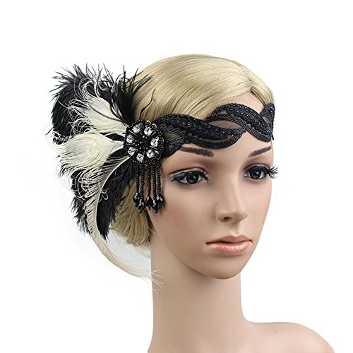 3f42dd37a5201 Women s 1920s Flapper Feather Lace Headband Roaring 20s Crystal Beaded  Tassel Party Headpiece by KMVEXO (