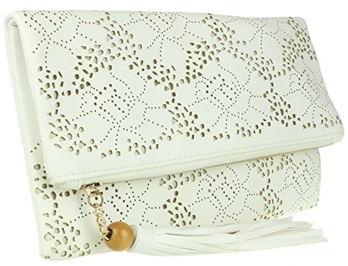 HandBags Laser Girly Folded Clutch White Cut Bag vOaOwUqpf