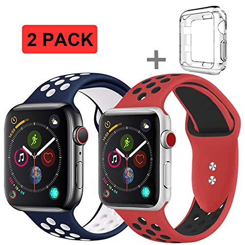 R-fun Band Compatible with Apple Watch 42/44mm Women and Men, Soft Silicone Replacement Wristband for Apple iWatch Series 4, Series 3, Series 2, Series 1, Sport, Edition(Red/Black+Blue/Write)