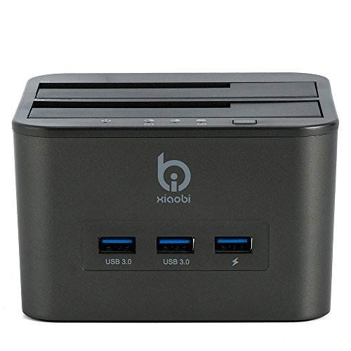 Xiaobi USB3.0 Dual Bay HDD 4-in-1 Docking Station with Offline Clone Function for 2.5 Inch & 3.5 Inch HDD SSD SATA (2 x 8TB) by Xiaobi