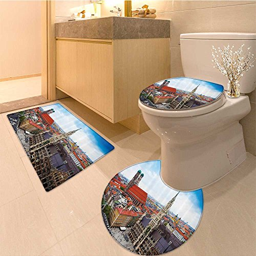 Rug Collection Flor (3 Piece Bath Rug SetWanderlust Collection Cityscape Panorama of Arno River Towers and Cathedrals of Flore Textures Non-Slip Bathroom Mats Contour Toilet Cover Rug)