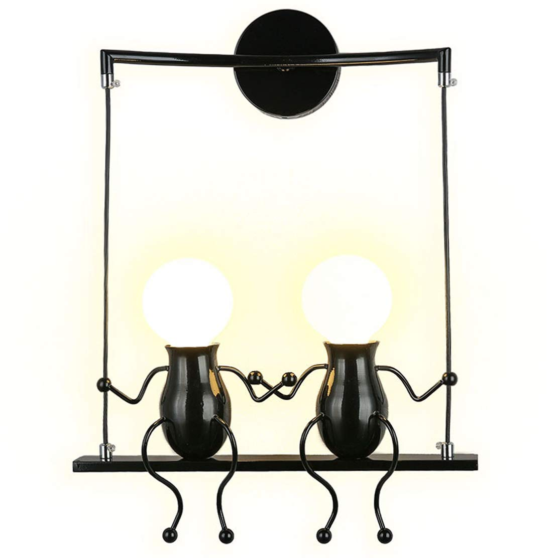 SOUTHPO LED Wall Light Fixtures Creative Double Little People Mini Wall Sconces Lighting Modern Decor Adjustable Swing Metal Bedside Lamp Children Cartoon Doll Gift Wall Lamps Bedroom 2×E26 (Black)