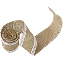 Potelin Ribbon Linen Azabu Handicraft Gift with Decorative Lace for Making Rustic Crafts Scrapbook Wraps Bows and Rustic Wedding Decorations 2 M