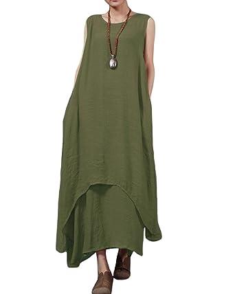 f26b6bc7ee Romacci Women s Boho Casual Irregular Linen Maxi Dresses Vintage Loose  Sleeveless A Line Long Dress Army