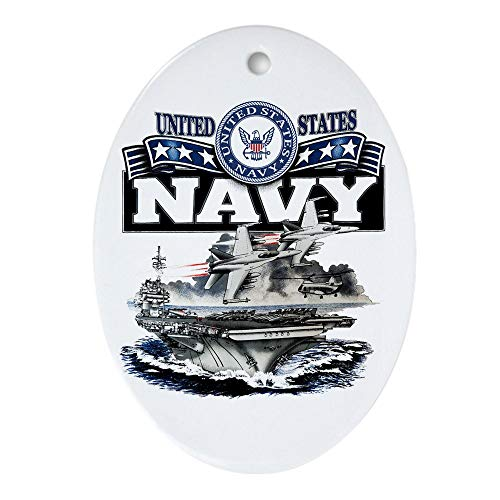Ornament (Oval) US Navy Aircraft Carrier and Jets