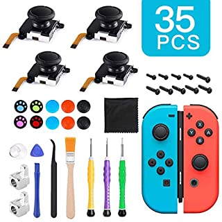 4 Pack 3D Joycon Joystick Replacement, Analog Thumb Stick for Nintendo Switch Joy Con, Full Repair Tool Set Include 4 Thumb 3D Sticks, 2 Metal Buckles, 3 Screwdriver, 2 Pry Tools, 10 Thumbstick Caps
