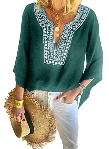 Asvivid Womens Bohemian Tops Embroidered Bell Bat Sleeve Notch V-Neck Blouse Casual Loose Summer Tee Work Office Tops L Green