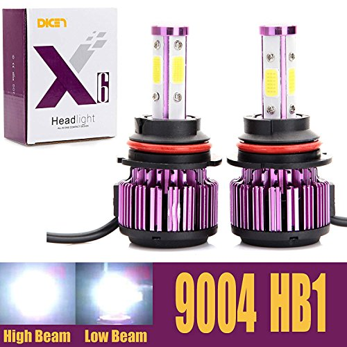 9004 HB1 LED Headlight Bulbs 20000LM 200W High Low Dual Beam 360 Degree 4 Side COB Chips 6000K Cool White Super Bright Auto Headlamps Conversion Kit All-in-One Plug & Play - 2 Yr Warranty