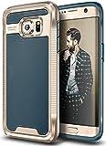 E LV Galaxy S7 Edge Case - Hybrid Armor Defender Slim Shock Absorption Bumper Case for Samsung Galaxy S7 Edge - (Dark Blue/Gold)