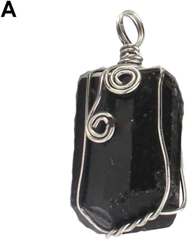 Findema Colgante de turmalina Negra Natural Collar de Cristal curativo Gran Regalo Aleación Piedra de Cuarzo Reiki Joyas de Piedras Preciosas para Hombres Mujeres