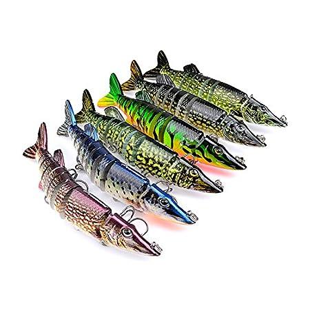 Hrph 12cm 20g 9-segement de Isca artificial Pike se/ñuelo de pesca Muskie swimbait Crankbait duro cebo de pesca