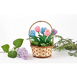 Handmade Decorative Basket With Artificial Beaded Tender Colorful Crocus Flowers 2