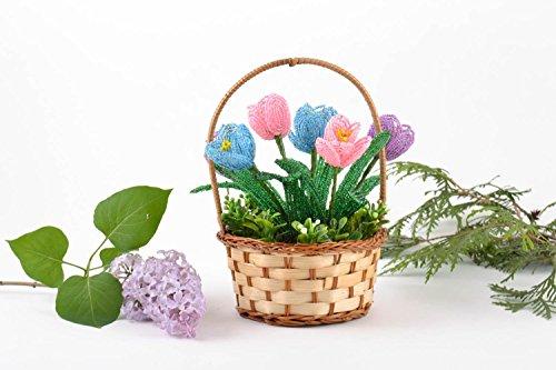 Handmade Decorative Basket With Artificial Beaded Tender Colorful Crocus Flowers (Crocus Basket)