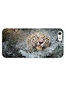3d Full Wrap Case for iPhone 5/5s Animal Bathing Tiger