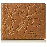 Fossil Men's Mylo Leather Rfid Blocking Embossed Map Bifold Wallet, cognac, One Size