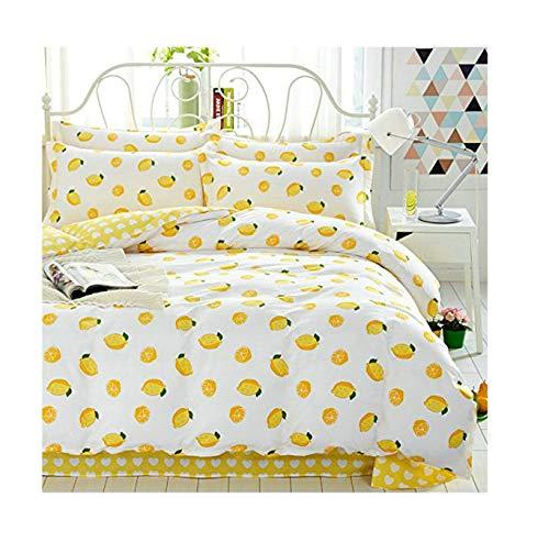 - Kids Beddingset Cotton Sheet Set Duvet Cover Pillow Cases Twin Full Queen Children Beddingset 4pcs (Twin, Lemon White)