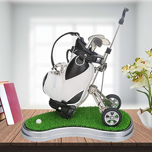 Golf Bag Holder 3 Pieces Aluminum Pen Office Desk Golf Bag Pencil Holder Fathers Day,Golf Souvenirs Unique Gifts Golfer Fans Coworker (White Black) (Golf Cart Desk)