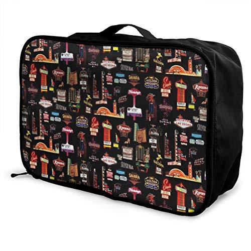 Travel Lightweight Waterproof Foldable Storage Carry Luggage Duffle Tote Bag - Las Vegas Skyline