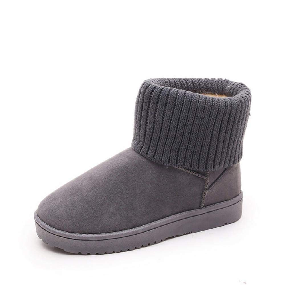 HhGold Damen Winterstiefel Gefüttert Bow Stiefel Schneestiefel Schleife (Farbe   Grau Größe   36)
