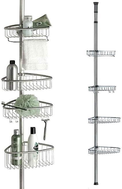 Home Flair - Estantería de Esquina telescópica para baño (2 o 4 estantes)