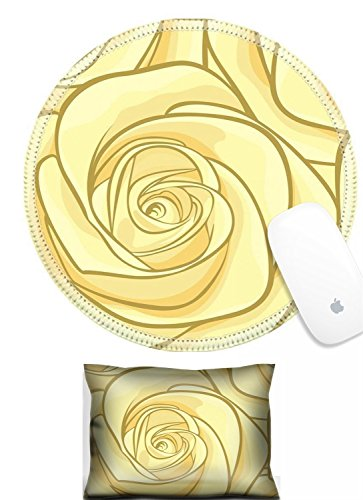 Luxlady Mouse Wrist Rest and Round Mousepad Set, 2pc IMAGE: 33212998 beautiful seamless background with yellow roses Hand drawn contour lines and strokes Perfect for background greeting cards and invi -