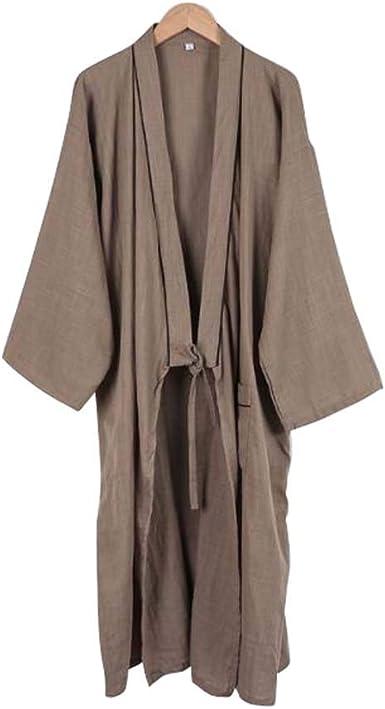 Kimono japonés Hombres Largo Yukata algodón Pijamas Batas Falda, B06: Amazon.es: Ropa y accesorios