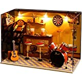 Flever Dollhouse Miniature DIY House Kit Creative Room With Furniture and Cover for Romantic Valentine's Gift(Jack's Music House)