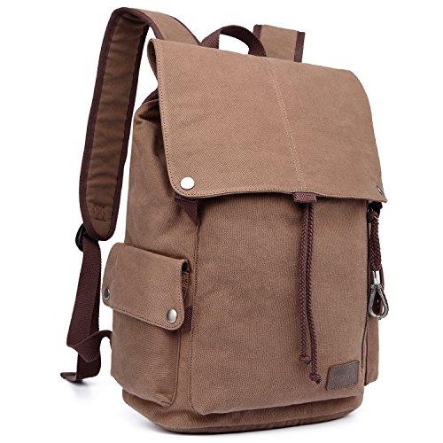 KAUKKO Outdoor Travel Men Backpack, Hiking Camping Canvas Rucksack(Coffee)