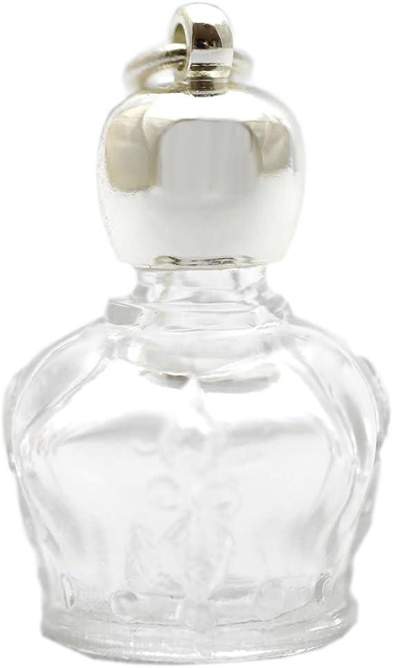 ミニ香水瓶 アロマペンダントトップ 王冠型(透明)1ml・シルバー・穴あきキャップ、パッキン付属
