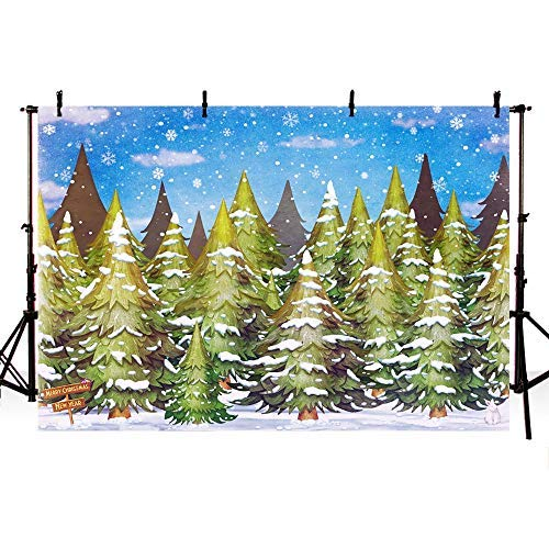 (COMOPHOTO Christmas Tree Photography Backdrop Winter Snow Forest Wonderland Trail Santa Decoration Banner Photo Background Studio Wallpaper)