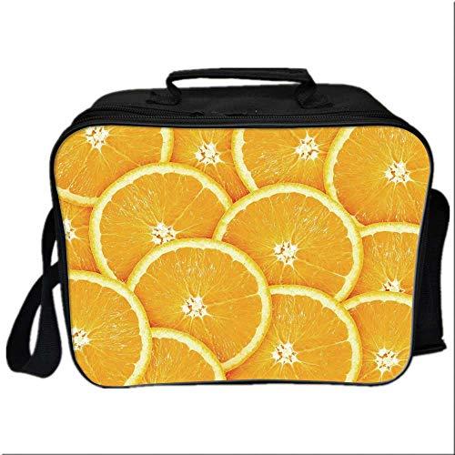 Orange Picnic Bag Cooler Bag,Realistic Citrus Fruit of Orange Slices Close Up Photography Clean Healthy Eating for Kids Boys Girls,10.6