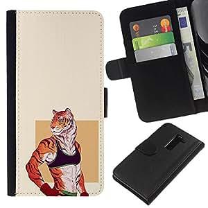// PHONE CASE GIFT // Moda Estuche Funda de Cuero Billetera Tarjeta de crédito dinero bolsa Cubierta de proteccion Caso LG G2 D800 / Sexy Tiger Girl /