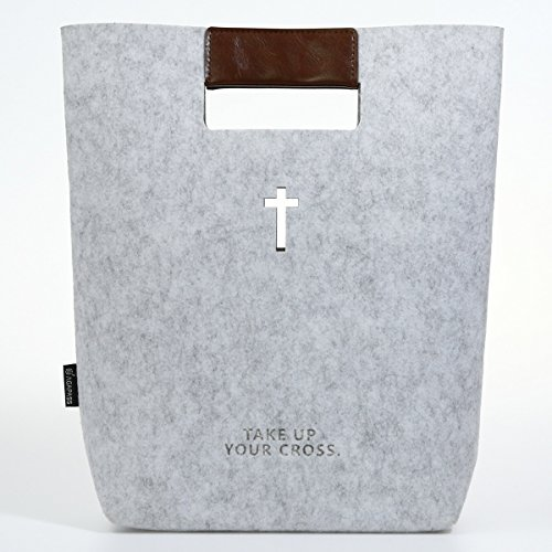 AGAPASS Cross Bible Covers Large Bible Bag for Women Church Bag with Faux Leather Handles, Christian Gifts, Light Grey - Inside Cross