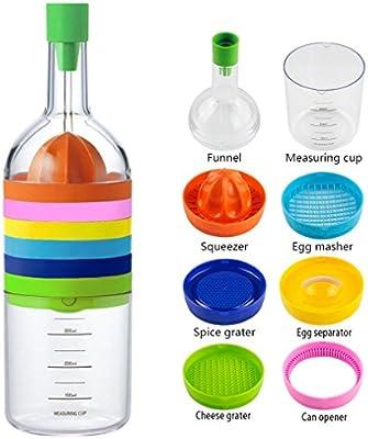 8 In 1 Kitchen Tool, Multipurpose Kitchen Gadgets Bin Bottle   Funnel,  Juicer Lemon Squeezer, Spice Grater, Egg Masher, Cheese Grater, Egg  Seperator, ...