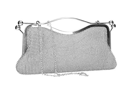MICHELLE Purse MOON with for ceremonies VN2362 woman strass silver pochette C5TFw5