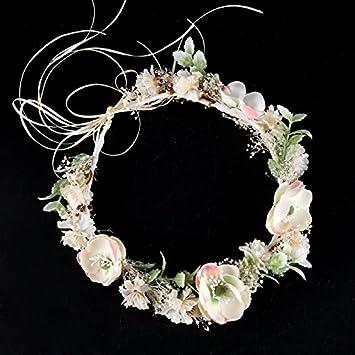 Olici MDRW-Tocado Nupcial De La Horquilla del Salón De Bodas Flores Blancas  Guirnaldas Vestidos De Novia De Color Flor Seca Headwear Bandas De Pelo ... f7486960757d