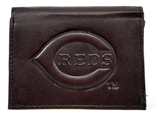MLB Cincinnati Reds Tri-Fold Leather Wallet, Brown